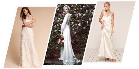 Gown, Clothing, Wedding dress, Dress, White, Bridal clothing, Shoulder, Fashion model, Bridal party dress, A-line,