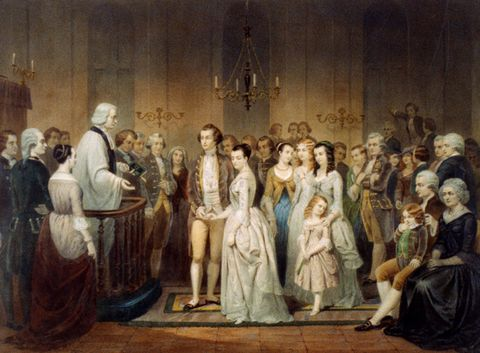 Wedding of George Washington and Martha Custis.