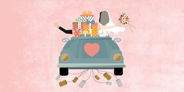 illustration of wedding couple with gifts on the back of their car and pink background