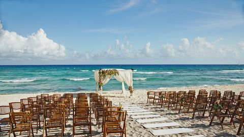 Wedding setup on the beach in Mexico