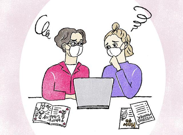コロナ禍でパソコンや雑誌を前に結婚準備の相談をしているカップルのイラスト