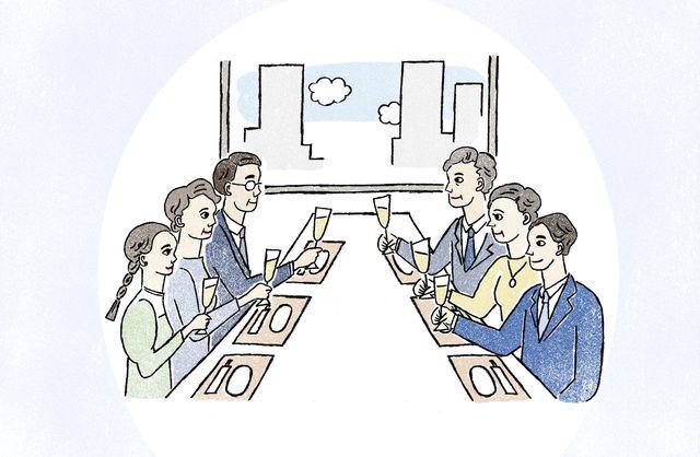 両家の顔合わせ食事会のイメージイラスト