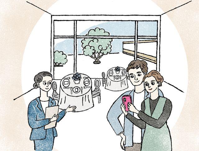 ブライダルフェアに参加して、会場見学をしているカップルと会場のプランナーのイメージイラスト