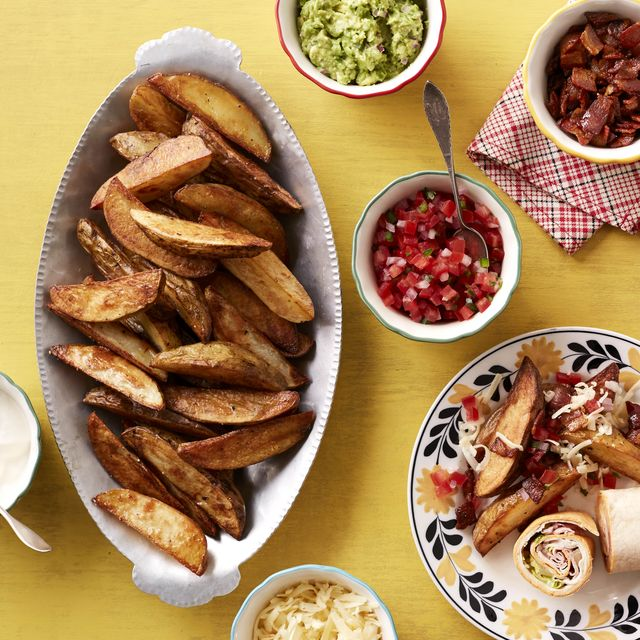 wedge fries with toppings in small bowls
