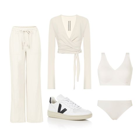 White, Clothing, Footwear, Shoe, Beige, Formal wear, Outerwear, Dress, Trousers, Sneakers,