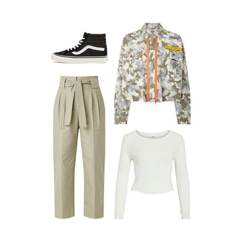Clothing, White, Sleeve, Outerwear, Trousers, Sportswear, Collar, Jacket, Blazer, Beige,
