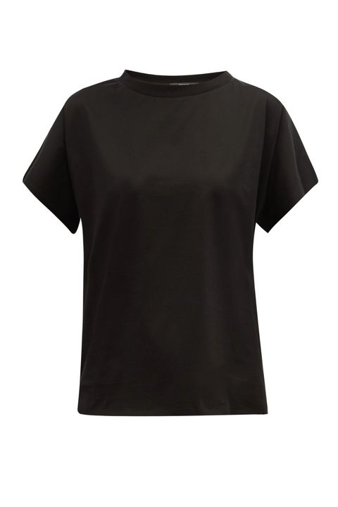 Clothing, T-shirt, Black, Sleeve, Top, Neck, Blouse, Crop top, Active shirt,