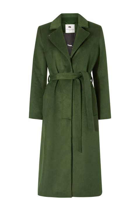 Clothing, Coat, Overcoat, Green, Outerwear, Trench coat, Sleeve, Collar, Dress, Duster,