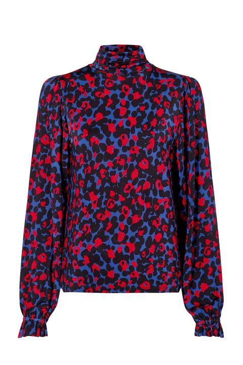 Clothing, Blue, Outerwear, Cobalt blue, Sleeve, Electric blue, Top, Jacket, Pattern, Blouse,