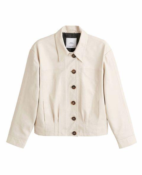 Clothing, Outerwear, White, Sleeve, Jacket, Beige, Collar, Blazer, Coat, Button,
