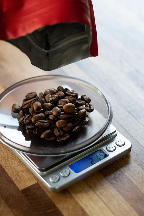 weighing coffee beans with scale