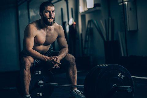 Weightlifter man resting