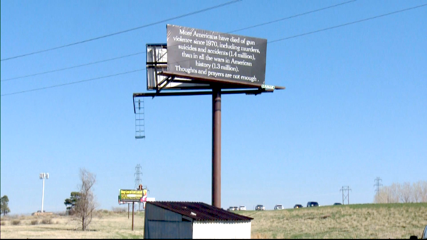 Inspired by 'Three Billboards Outside Ebbing, Missouri,' a Colorado Woman Bought Billboards to Advocate for Gun Reform