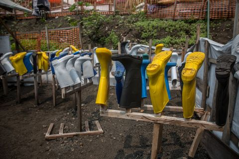 Wellies at an Ebola treatment centre in Goma,  DR Congo is...