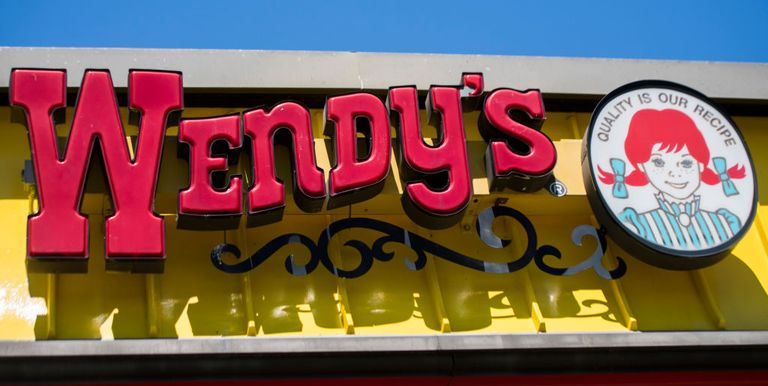 Wendy's fast food restaurant sign and logo