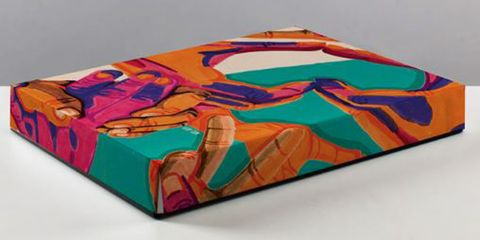 Turquoise, Modern art, Art, Table, Turquoise, Painting, Rectangle, Illustration,