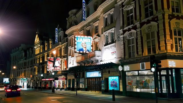 the apollo theatre and the lyric theater in the west end on shaftesbury avenue in the city of westminster, in central london, england