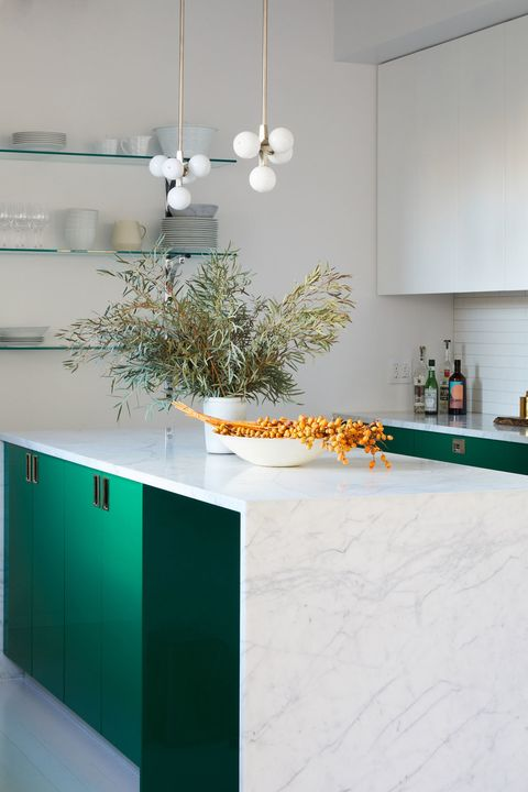 White, Countertop, Turquoise, Room, Interior design, Furniture, Kitchen, Floor, Tile, Table,