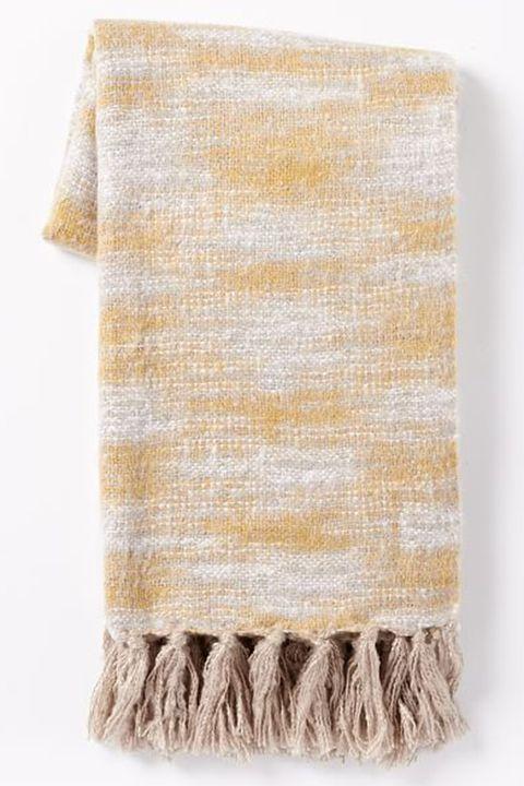 Yellow, Beige, Fur, Wool, Scarf, Stole, Textile, Kitchen towel, Towel, Pattern,