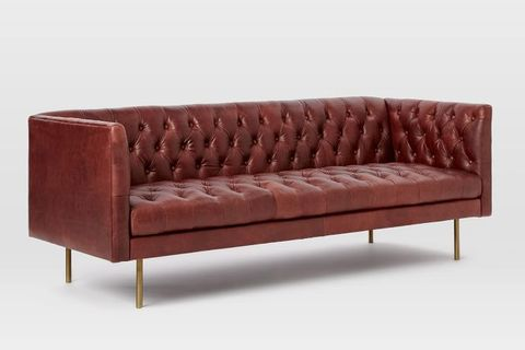 Furniture, Couch, Leather, Brown, studio couch, Sofa bed, Room, Armrest, Rectangle, Wood,