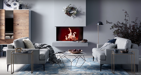 Living room, Room, Furniture, Hearth, Interior design, Wall, Fireplace, Lighting, Floor, Couch,