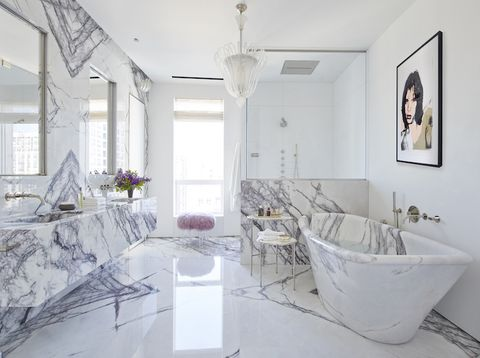 White, Room, Bathroom, Property, Interior design, Bathtub, Floor, Ceiling, Purple, House,