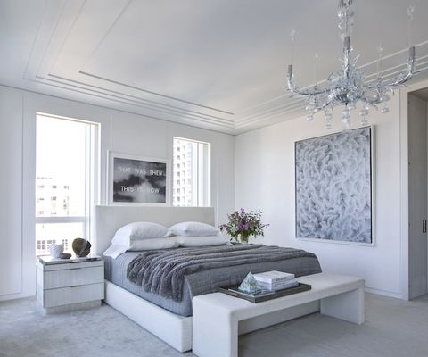 Bedroom, Furniture, White, Room, Bed, Interior design, Bed frame, Ceiling, Property, Floor,