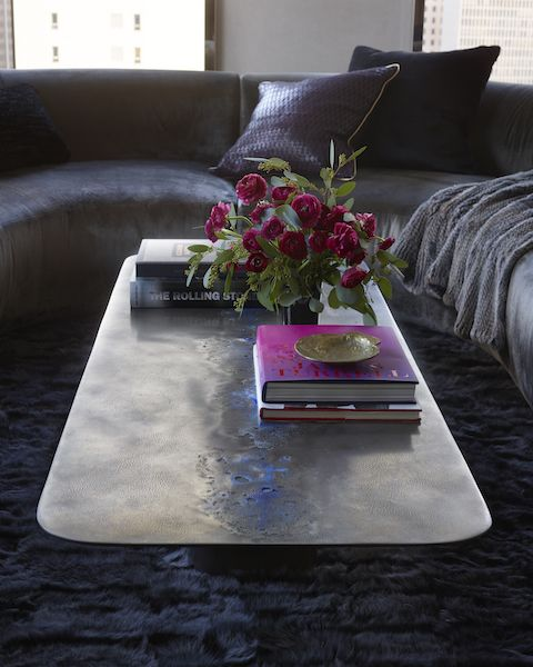 Coffee table, Table, Furniture, Purple, Interior design, Room, Living room, Floor, Architecture, Material property,