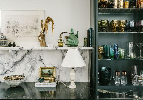 kitchen bar with marble counter