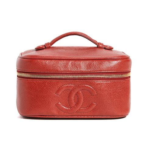 chanel 紅色化妝箱包