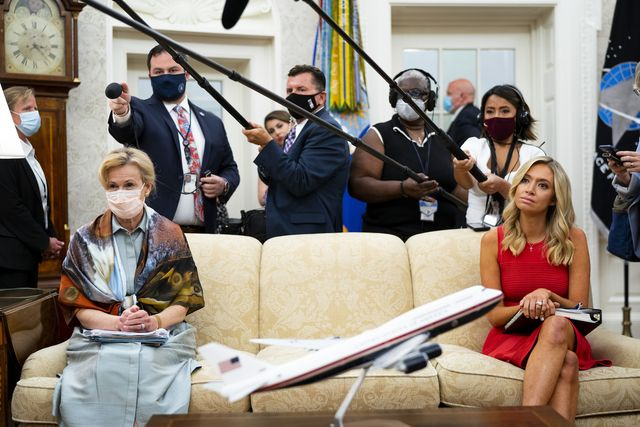 nytunrest    dr deborah birx, white house coronavirus response coordinator, left and white house press secretary kayleigh mcenany, right, look on as president donald trump makes remarks as he meets with arizona's governor doug ducey in the oval office, wednesday, aug 5,  2020  photo by doug millsthe new york times