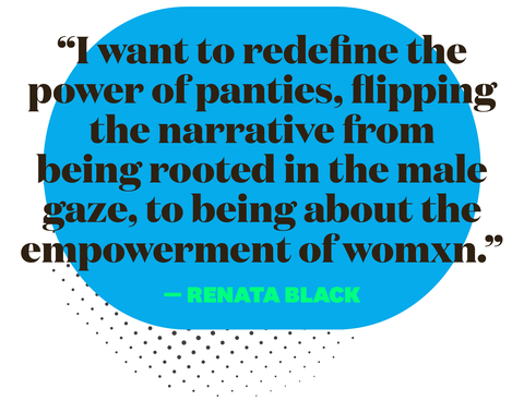 i want to redefine the power of panties flipping the narrative from being rooted in the male gaze, to being about the empowerment of womxn renata black
