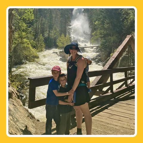 mariah zebrowski leach on a hike with family