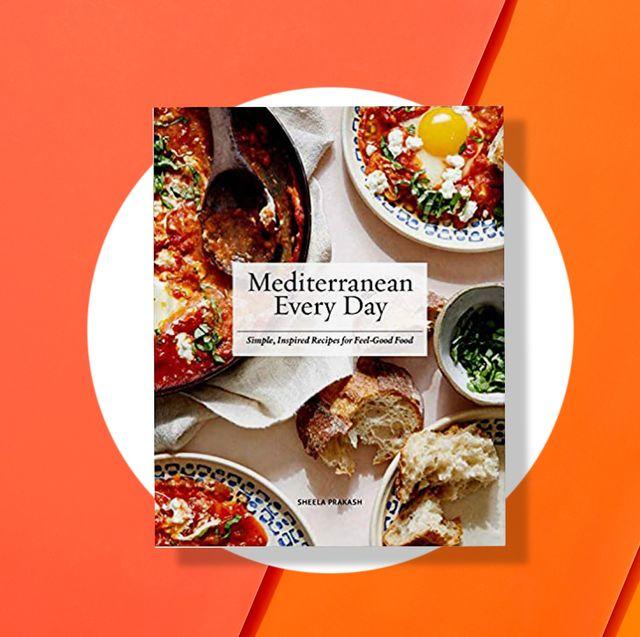 mediterranean diet cookbooks on orange background