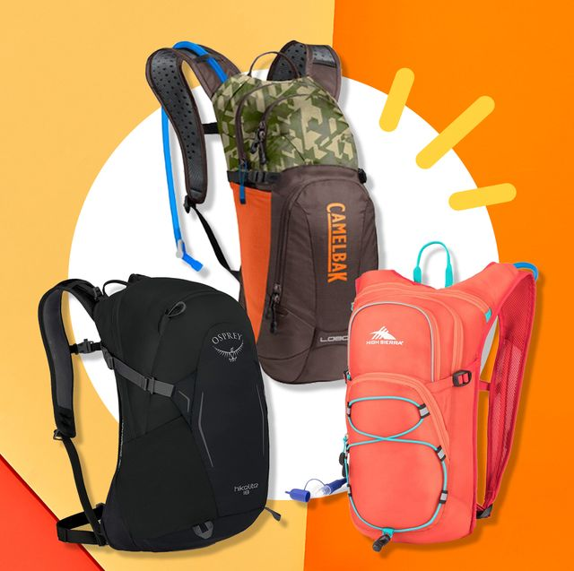 three hiking backpacks on colorful background