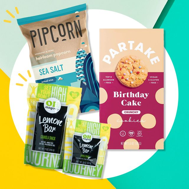 three gluten free snacks on colorful background