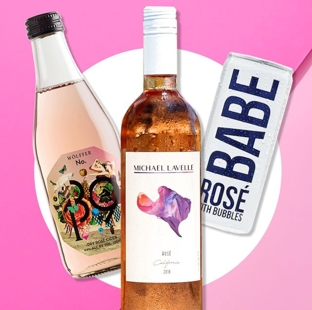 rose wines on pink background