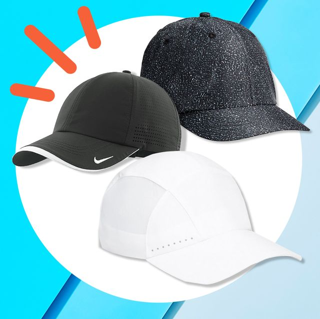 three running hats on colorful blue background