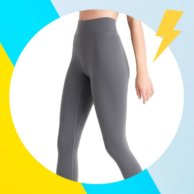 pair of gray leggings with colorful background