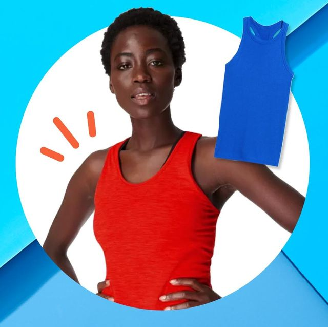 workout tank tops on blue background