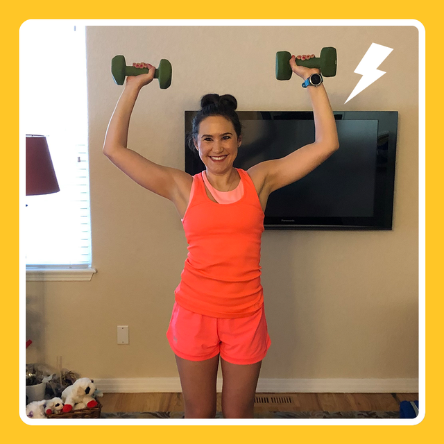Shoulder, Arm, Joint, Exercise equipment, Dumbbell, Standing, Weights, Muscle, Leg, Neck,