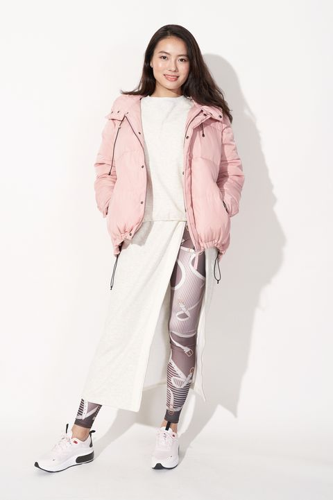 White, Clothing, Pink, Outerwear, Fashion, Fashion model, Shoulder, Jacket, Coat, Sleeve,
