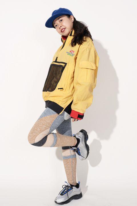 Clothing, Yellow, Khaki, Fashion, Standing, Outerwear, Jacket, Footwear, Headgear, Photography,
