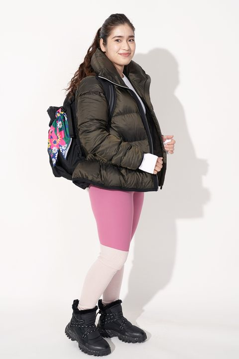 White, Clothing, Pink, Fashion, Shoulder, Outerwear, Jacket, Footwear, Joint, Hood,