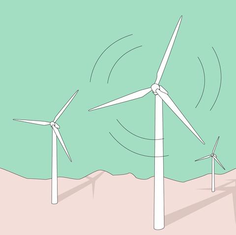 Wind turbine, Wind farm, Windmill, Wind, Line, Design, Machine, Public utility, Illustration,