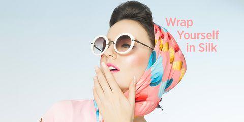 woman wearing silk headscarf