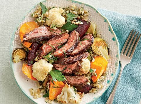 seared steak and vegetable bowl