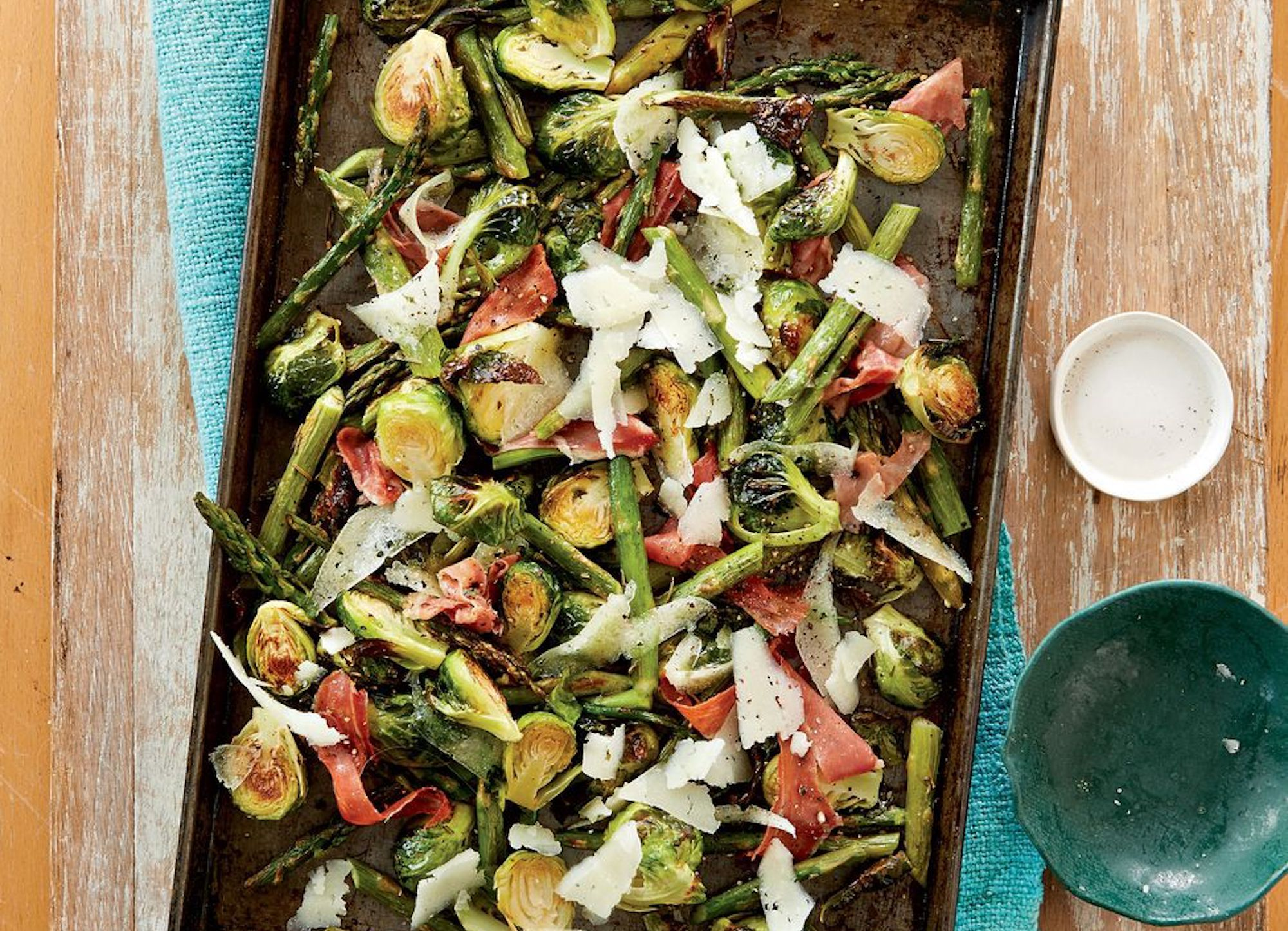 Rosemary roasted vegetables with cheese and ham