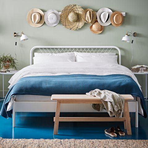 Furniture, Bed, Bedroom, Room, Bed frame, Blue, Bedding, Interior design, Bed sheet, studio couch,