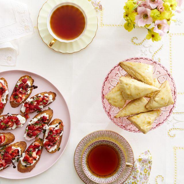 mother's day tea party strawberry and goat cheese crostini petite orange vanilla scones